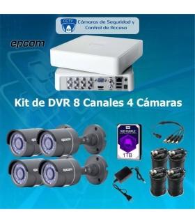 COMBO 8X4 DVR 8 Canales 4 cámaras bala COM8X4EPCOMBALA