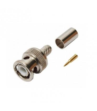 Conector A Presion Para Cable Coaxial Rg-59/62 (Pvc), 3 Piezas, 50 Ohms, Bnc Macho