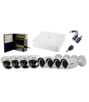 COMBO EPCOM TURBO HD 720P DE 8 CH CON 4 CAMARAS TIPO DOMO Y 4 CAMARAS BALA  TURBOSD78