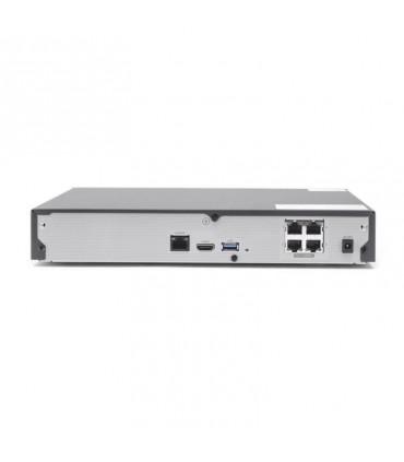 QRN-410S NVR 8 Megapíxel / 4 canales / H.265 / P2P Wisenet / 4 puertos PoE