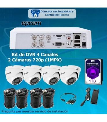 COMBO DVR DE 4 CANALES Y 4 CAMARAS COMPLETO CON DISCO DURO DE 1 TB COMEP4*4