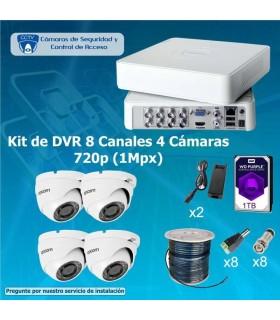 COMBO DVR DE 8 CANALES Y 4 CAMARAS Domo 1TB COM8x4EPC