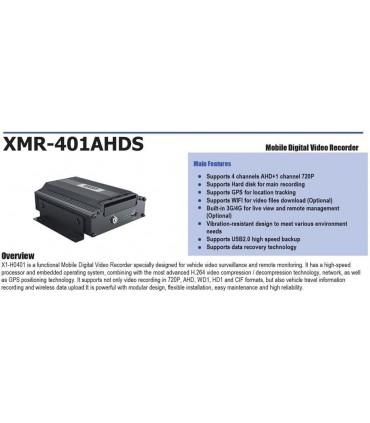 Vídeo Grabador Móvil Tríbrido (4ch AHD / Analógico + 1 ch 720P) XMR401AHDS